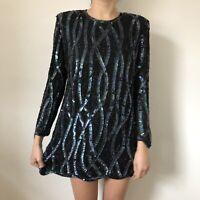 Frank Usher Women Dress Size Large L Shift Long Sleeve Heavy Embellished Sequin