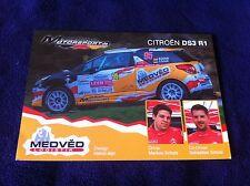 CP POSTCARD CARTOLINA CITROEN DS3 SCHULZ RALLY WRC RALLYE 2014
