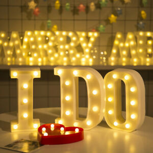 Alphabet LED Letter Lights Light Up White Plastic Letters Standing Hanging A-Z