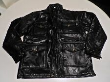 Patched Soft Leather Black Lightly Padded Zipped Jacket Size M Free UK P&P .