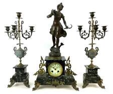 3 Pc. Figural Clock & Candelabra Ensemble Set Lot 1054