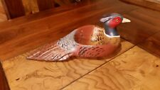Ring-necked pheasant wood carving pheasant bowl decoy duck decoy Casey Edwards
