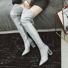 Women Glitter Zip High Heels Pointed Toe Party Over Knee Boots Shoes Size 33-43