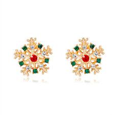 Christmas Snowflake Rhinestone Gold Plated Woman Earring Holiday Celebration