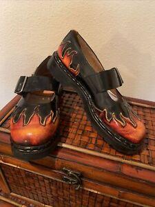 Tredair Sunburst Flames  US  9.5-10 M Leather Mary Janes Platform Shoes