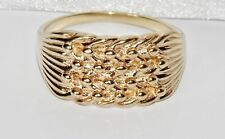 Solid 9ct Yellow Gold on Silver 4 Row Keeper Ring size W