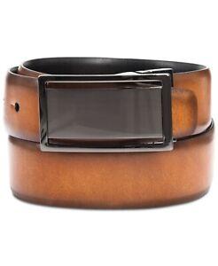 $120 Alfani Men's Brown Black Faux Leather Reversible Buckle Dress Belt Size 34