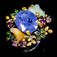 Handmade Jewelry Natural Tanzanite 925 Sterling Silver Ring Size 8.25/R117983