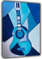 Cubit Blue Guitar Paint By Pablo Picasso Reprint On Framed Canvas Wall Art Decor