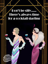 THERES ALWAYS TIME FOR A COCKTAIL ART DECO: METAL SIGN HOME DECOR  HOME BAR GIFT