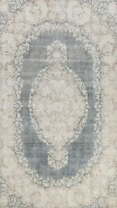 Vintage Traditional Charcoal Kirman Distressed Muted Hand-knotted Area Rug 7x10