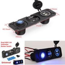 12V Voltmeter Blue LED Dual USB Auto Car Charger Rocker Switch Cigarette Lighter