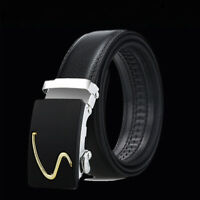 Automatic Buckle Men Waist Belt Black Lychee Imitation Leather Men's Casual Belt