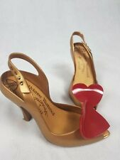 Vivienne Westwood Anglomania + Melissa Lady Dragon Heart Shoes Gold/Red Size 3