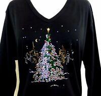 PLUS 2X 3/4 Sleeve V-Neck Rhinestone Embellished Christmas Tree City Lights Top