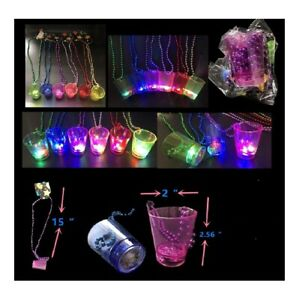 12 Light Up Flashing LED  Shot Glasses Cup Mardi Gras Bead Necklace Party Favor
