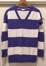 GAP Maternity Purple and White Wide Stripped V-Neck Sweater - Size Small