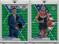 2019-20 Panini Mosaic Stephen Curry #299 MVP & #260 USA Green Prizm Warriors