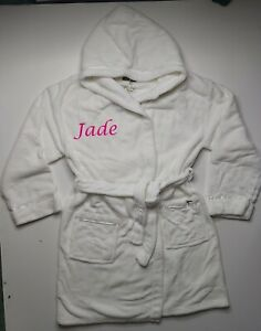 Personalised ladies hooded white fleece dressing gown size Large XL with a name