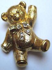 broche pendentif bijou rétro nounours couleur or cristaux diamant signé 110