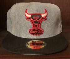 NEW ERA CHICAGO BULLS HARDWOOD CLASSICS DENIM FITTED 59FIFTY HAT BLACK RED 7 5/8