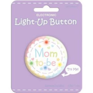 Amscan Delightful Mom To Be Light-Up Button Baby Shower Party Novelty Favors