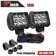 "2x3""Spot Offroad LED Light Pods Lamp+Pair Holder for Truck Motorcycle Pickup Van"