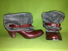 Red Irregular Choice Ankle Boots with Faux Fur Cuff 8 39