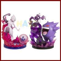 Anime Pokemon Mewtwo Gengar 14cm PVC Battle Scene Figure Model Toys Collection