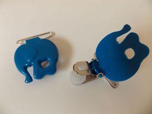 2 Hosenträgerclips, Schnullerketten Clips, Elefant, Blau, 3 cm breit
