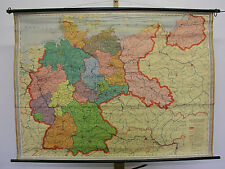 Wall Map Germany W GDR Ostgebiete 1958 129x95 Vintage Prussia