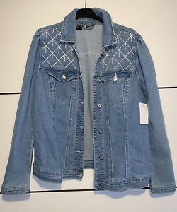 Modische Jeansjacke Jacke mit Strass Gr.46 XL NEU