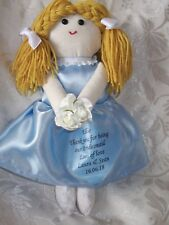 PERSONALISED HANDMADE BRIDESMAID FLOWER GIRL RAG DOLL BIRTHDAY GIFT MADE IN UK
