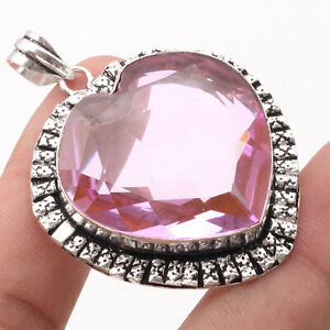 """Pink Quartz Silver Plated Heart Style Pendant 2.5"""" Gemstone Jewelry R1049"""