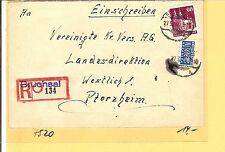 Bizone / Bruchsal violetter L1 a. ungez. Beh.-R.-Zettel a. E.-Brief m. EF 93