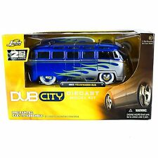 Jada Toys Diecast 1/24 VW 60s Van Bus Model Kit 55004 Blue Volkswagen Dub City