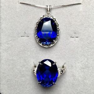 Certified Natural Sapphire Silver White Pendant Ring Set Women Gift