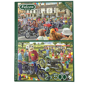 The Motorcycle Show Jigsaw Puzzle 2 x 500 Falcon Classic Bikes Transport Vehicle