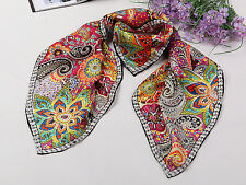 Large Square Silk Twill Scarf Pink Theme Paisley Print XWC146