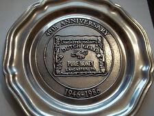 """Wilton Pewter 7"""" Plate (Dutch Gold Honey 40th Ann. 1946-1986 Lanc. Pa.)"""