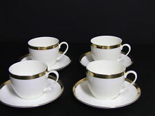 Tachikichi Japan Richfield Tableware White Gold Trim Cups and Saucers / Set of 4