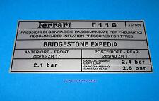 FERRARI 456 GT GTA M GT GTA BRIDGESTONE EXPEDIA TYRE TIRE PRESSURE DECAL O.E