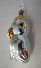 Russian Christmas Glass Ornament Silver Orange Parrot Bird vintage Soviet Russia