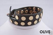 Linea Pelle Gold Flat Stud Double Wrap Bracelet OLIVE