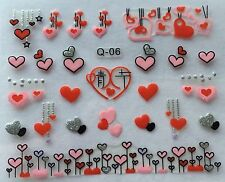 Nail Art 3D Decal Stickers Hearts Valentine's Day Q06