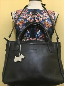 Medium Black Leather Genuine Radley London Handbag / Satchel/Cross Body Bag Vgc