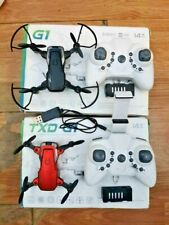 (2) TXD-G1 Mini Foldable Quadcopter Drones (1 )with Camera & 2 Extra Batteries