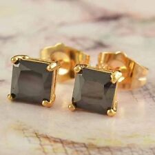 7*16mm Black Onyx Square Stud Earrings 9k Yellow Gold Filled Jewelry