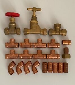 Job Lot of Plumbing Fittings Solder Ring Compression Gate Valve Stopcock 15mm