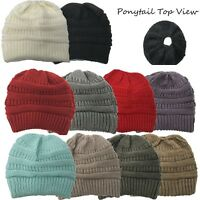 Women Messy Bun Softest Cable  Ponytail Stretchy Knit Beanie Skull Winter Hat